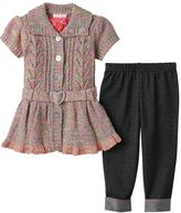 Little Lass Baby Girl Marled Sweater Vest & Jeggings Set
