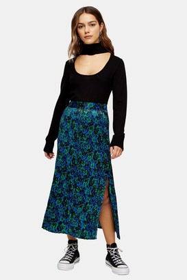 Topshop Womens Petite Floral Crystal Print Pleated Skirt - Blue