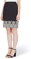 Tahari ASL Petite Embroidered-Hem Stretch Crepe Pencil Skirt