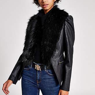 River Island Black faux fur collar long puff sleeve jacket