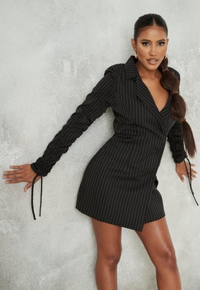 Missguided Black Pinstripe Ruched Sleeve Blazer Dress