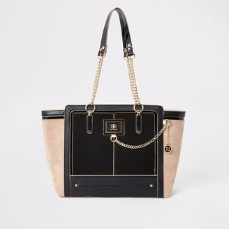 River Island Womens Black chain front winged tote bag