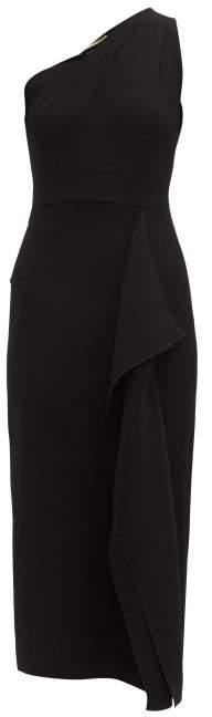 Roland Mouret Rivoli One Shoulder Wool Crepe Midi Dress - Womens - Black