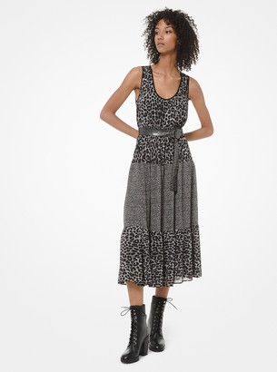 MICHAEL Michael Kors Mixed Leopard-Print Georgette Tiered Dress