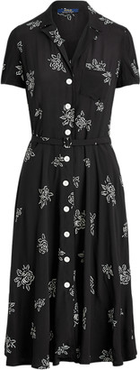 Ralph Lauren Rose-Print Midi Dress