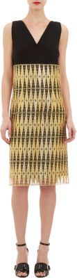 Derek Lam Shift Dress with Lacquered Lace Overlay