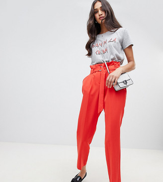 Miss Selfridge tapered pants with paperbag waist in red