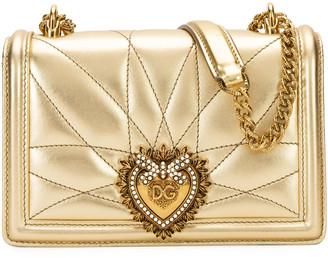 Dolce & Gabbana Devotion Mini Metallic Leather Crossbody Bag