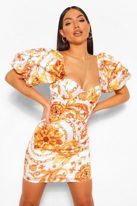boohoo Chain Print Puff Sleeve Mini Dress