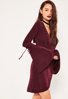 Missguided Burgundy Tie Sleeve Plunge Wrap Dress