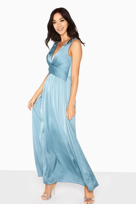 Little Mistress Clara Embellished Strap Satin Maxi Dress