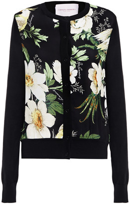 Carolina Herrera Floral-print Silk Chiffon-paneled Silk And Cotton-blend Cardigan