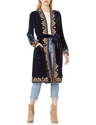 For Love and Liberty Women's Velvet Duster with Embroidery