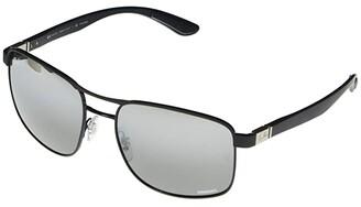 Ray-Ban RB3660CH Square Metal Sunglasses 58 mm (Matte Black/Shiny Black) Fashion Sunglasses