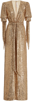 Naeem Khan Exclusive Belted Sequined Wrap-Effect Jumpsuit