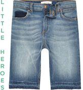 River Island Boys Blue Dylan slim fit denim shorts