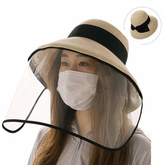BEIGE Ladies Packable Straw Sunhat UPF 50 with Chin Strap Bowknot Wide Brim Panama Fedora Beach Sun Hat Size Adjustable 55-58CM