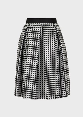 Emporio Armani Two-Toned, Micro-Checked Skirt With Godet Pleats