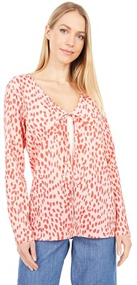 Vince Camuto Long Sleeve V-Neck Tie Front Animal Textured Knit Cardigan (Soft Peony) Women's Clothing