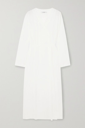 LE 17 SEPTEMBRE Belted Wrap-effect Crinkled Habotai Midi Dress - White