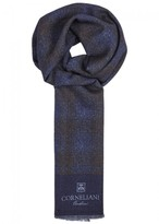Corneliani Dark Blue Reversible Wool Jacquard Scarf