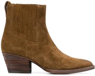 Ash Suede Cowboy Ankle Boots
