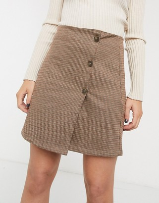 Only check mini skirt with buttons-Beige
