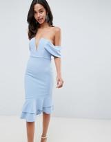 Asos Design DESIGN V Bar Textured Midi Bodycon Pephem Dress