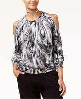 Material Girl Active Juniors' Printed Cold-Shoulder Sweatshirt, Created for Macy's