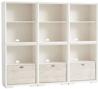 Pottery Barn Teen Callum Super Wall Set, 3 One- Drawer + 3 Cubby, Weathered White/ Simply White