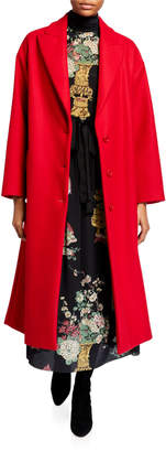 RED Valentino Wool Button-Front Notch-Collar Coat