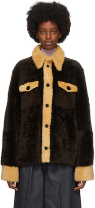Wales Bonner Brown Shearling Lovers Rock Jacket