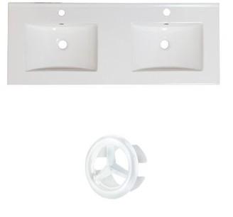 "American Imaginations Xena Ceramic 59"" Single Bathroom Vanity Top Faucet Mount: Single Hole"