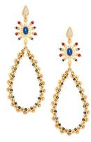 Azaara Lapis & Multi-Color Stone Teardrop Earrings/Goldtone