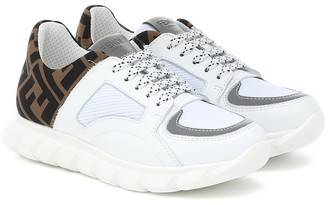 Fendi Kids Leather-trimmed mesh sneakers