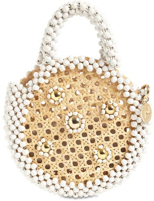 Rosantica ALIDA ROUND STRAW BEADED TOP HANDLE BAG