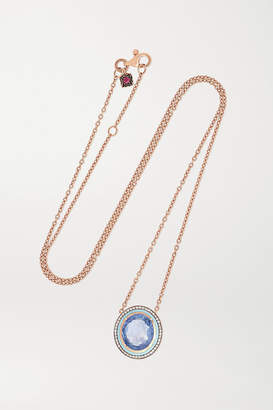Selim Mouzannar 18-karat Rose Gold, Enamel, Sapphire And Diamond Necklace - one size