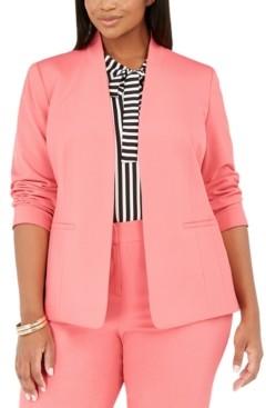 Bar III Trendy Plus Size Bi-Stretch Open-Front Blazer, Created for Macy's