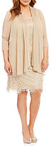 R & M Richards Plus Metallic Embroidered Lace Jacket Dress