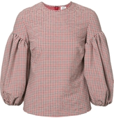 Rosie Assoulin Puff Sleeve Checked Blouse