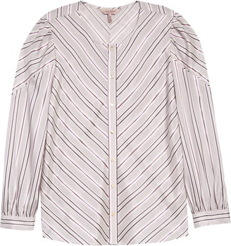 Tailored by Rebecca Taylor Stripe Silk Blend Top