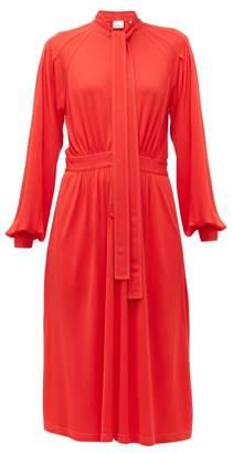 Burberry Haima Pussy-bow Jersey Midi Dress - Womens - Red