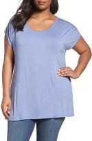 Sejour Plus Size Women's Ruched Cold Shoulder Top