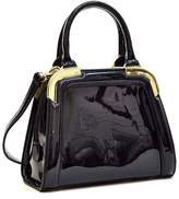 Dasein Small Patent Leather Satchel Mini Corner Gold Tone Handbags Womens Shoulder Bags