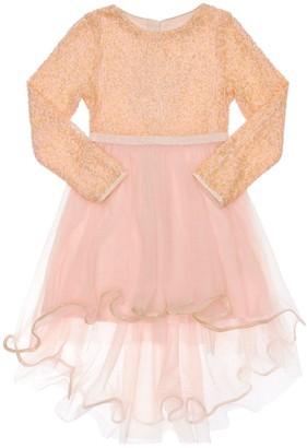 Billieblush Sequin Embroidered Dress W/ Tulle Skirt