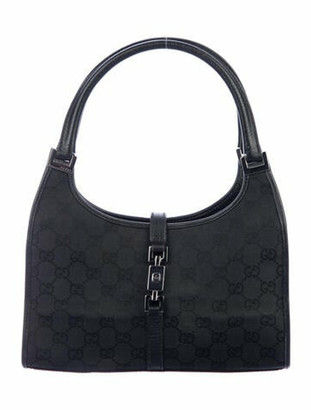 Gucci Small GG Canvas Jackie Bardot Bag Black