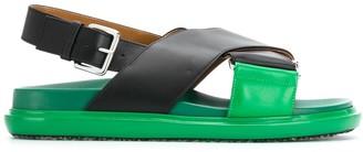 Marni Cross-Strap Leather Sandals