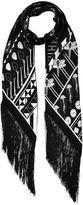 Rockins Black Silk Printed Tasselled Scarf