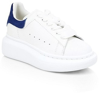Alexander McQueen Kid's Oversized Lace-Up Leather Trainers