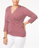 Charter Club Plus Size Printed Faux-Wrap Hardware Top, Created for Macy's